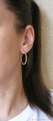 "Gold ring earrings ""Movement"" stylish stud earrings,#earrings #movement #stylish"