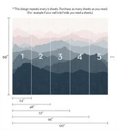 Mountain Mural Wallpaper, Gray, Navy, Pale Pink, Mountain Extra Large Wall Art, Peel and Stick Wall Poster   – Fototapete Berge