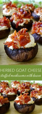 Herbed Goat Cheese Stuffed Mushrooms with Bacon