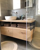 Industrial bathroom furniture with oak and steel.