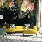 Amerikanische CountrySide dunkle Blumen Tapete, Natur Wandbild, Blumen Wandkunst, Wandaufkleber, große Blumen Wand Sticke
