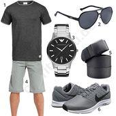 Herren-Outfit in Grau mit Uhr von Emporio Armani (m0428 – Outfit für Männer 2019