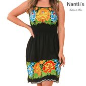Mexico Handmade TM-77370  Black Vestido Campana Bordado de Mujer Mexican Embroidered Dress Tradicion de Mexico