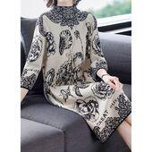 Lässige Kleidung 3/4 Ärmel Blumen Midi Kleider (1955473060) – Dresses