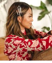 Red floral shirt, hairstyle