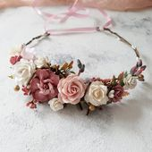 Blush pink dusty gold flower crown Bridal dusty flower crown | Etsy