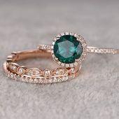 3pcs Emerald Engagement Ring Set! 14k Rose Gold, Diamond Wedding Band, 7mm … # Diamond …   – DIY Jewelry Projects