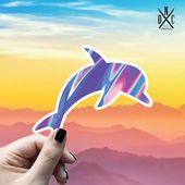 Dolphin Trippy Vinyl Sticker, Best Friend Gift, Animal Decals, Dolphin Stickers, Decal, Macbook Deca