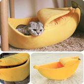 Gemütliches süßes bananenförmiges Katzenbett