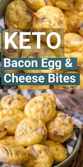 ¡El desayuno keto fácil perfecto! Pruebe estas picaduras de huevo y queso Keto Bacon para …