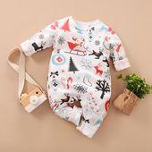 Newborn/Baby One Piece Christmas Tree Santa Print Long Sleeves Jumpsuit
