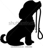 Una silueta negra de un perro sentado con la correa en la boca, pa …, #black …