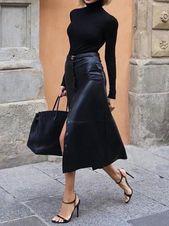 Fashion Single-Breasted Leather Skirt – #Fashion #leather #SingleBreasted #skirt #street – peso