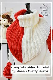 How to crochet a Knit Look Color Block Triangle Scarf video tutorial
