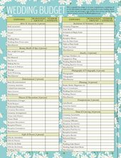 Free Printable - Wedding Cost Checklist | Free printable wedding ...