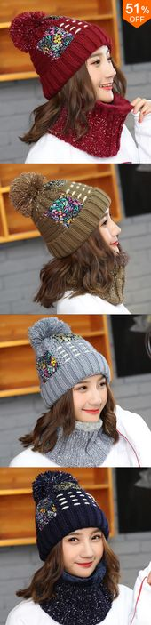 51% off&Free shipping. Women Thicken Knit Hat Scarf Set Vintage Winter Earmuffs … – Clothing ideas/styles of clothing