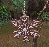 Snowflake Gingerbread Cookie Salt Dough Christmas Ornament Handmade