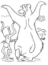 Baloo And Mowgli Funny Walk In Jungle Book Coloring Pages : Bulk Color