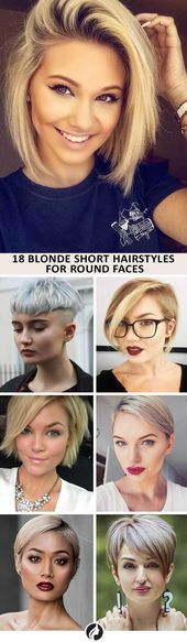 40 blonde short hairstyles for round faces – #blonde #faces #hairstyles #round …
