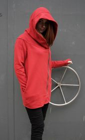 Womens Hoodie, Red Hooded Sweatshirt, Asymmetrical Coat, Red Hooded Coat, Urban Clothing, Zipper Sweatshirt, Hooded Jacket, Fall Clothing – Chemins de Sang