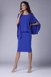 Olowkowa Sukienka Z Pelerynka Chabrowa Na904 Cold Shoulder Dress Fashion Dresses