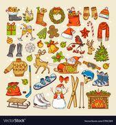 Photo of Farbige Bilder von Weihnachtsspielzeug und bestimmten Objekten der Wintersaison. Winter…