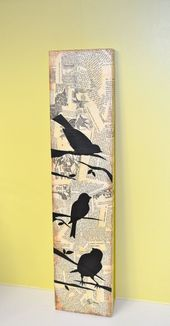 3 Mixed Media Style Bird Silhouettes on long by busygirlart, $ 25.00 #woodw …