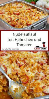 Nudelauflauf mit Hähnchen und Tomate-Mozzarella