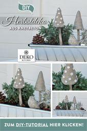 DIY: Mit Knetbeton können Sie tolle Pilze für Ihre nächste Herbstdekoration selbstma …   – beton