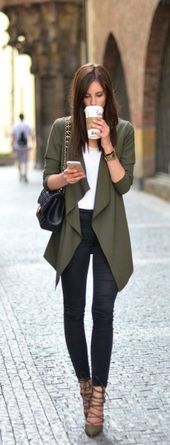 #fall #outfits / Green Olive Cardigan – Black Skinny Jeans – #black #cardigan #f…