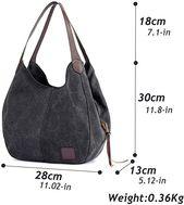 Photo of Amazon.com: Alyssaa Women's Canvas Shoulder Handbags Ladies Casual Hobo Shopping…