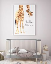 Giraffe drucken | Giraffe Kunst | Giraffe Tier Kinderzimmer | Kinderzimmer-Wand-Kunst | Hallo kleine | Kindergarten-Safari Drucke | Geschlechtsneutral