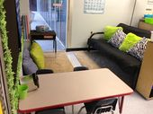 black and neon …. reading area … and work space …Technology Theme