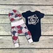 Newborn baby boy coming home outfit/no place like home baseball outfit