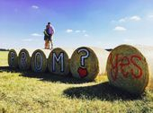 Prom proposal  …. Country Style  – Ask who you want to prom & let her write her answer on a bale of hay next to the question. #prompictureposes