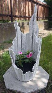 Pflanzgefäss aus alten Bettlaken und Zement –