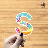 "Letter ""S"" Tie Dye Vinyl Sticker, Best Friend Gift, Laptop Decals, Name Stickers, Monogram, Macbook"