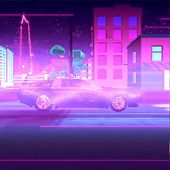 Taxi Driving new york 3d art digital artwork futuristic synthwave music video push it to the limit