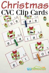 Kostenlose Weihnachts CVC Clip Cards – SLP