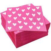 """100er Pack Hearts Design Servietten zum Valentinstag, Girls Party Supplies, 6.5 """", Pink   – Products"""