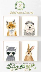 Woodland nursery, nursery print set of 3, raccoon painting, bear, hedgehog, baby woodlands, kids poster, girl's nurser, baby shower gift