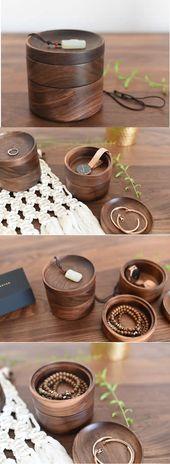 Boîte à organisateur de bijoux en bois de noix noire Caddy Papeterie …
