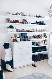 Meine Schuhwand in der Umkleidekabine   – Ordnung im Kleiderschrank