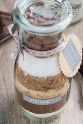 Backmischung im Glas für Brownies
