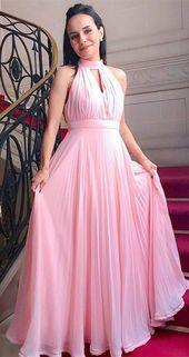 Einfache High Neck Pink Abendkleid, langes Abendkleid, günstige Abendkleid