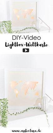 Beleuchtete Weltkarte – Lightbox selber basteln   – DIY mit Holz