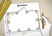 Heimwerker hat einen Bauplan erstellt. Der Plan zeigt die Position der senkrecht… – Rund ums haus