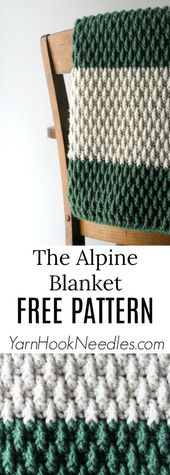 Baby Blanket The Alpine Blanket Pattern - YarnHookNeedles - mit Bändchengarn wunder-   schö...