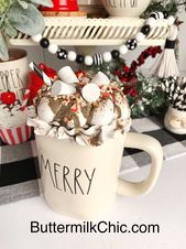 Marshmallow Faux Whipped Cream Mug Topper | Large Rae Dunn Mug Size Rae Dunn Inspired | Photo Props | Chrismtas Decor | Smores | Coffee Bar