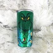 Grinch Tumbler, Green Glitter Dipped Cup, Glitter Christmas tumbler, Stainless S… – Products
